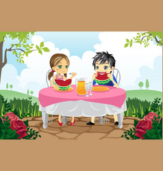 Kids eating watermelon in a park vector