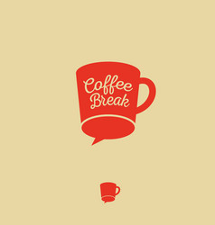 Logo coffee break chat flat icon vector