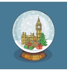 London Christmas Snow globeDoodle city vector