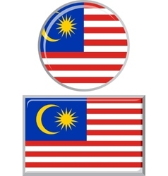 Malaysian round and square icon flag vector