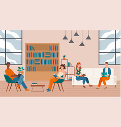 male and female characters sitting in library vector image