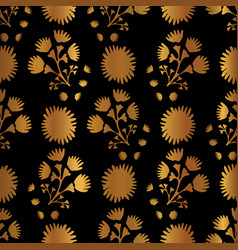 metallic copper gold floral pattern seamless vector image