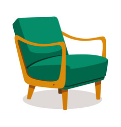 modern green soft armchair with upholstery vector image