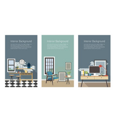 Modern interior banners set kitchen living room vector