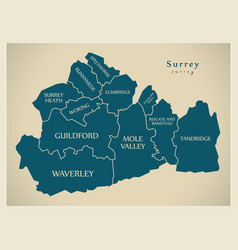 Modern map - surrey county with district captions vector