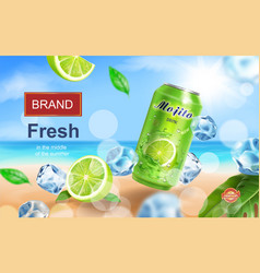 mojito aluminium can ads with beverage vector image