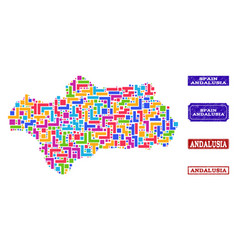 Mosaic map of andalusia province and scratched vector