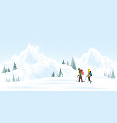 mountain couple climbers with backpacks walking vector image