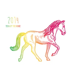 multicolor chinese new year horse 2014 isolated vector image