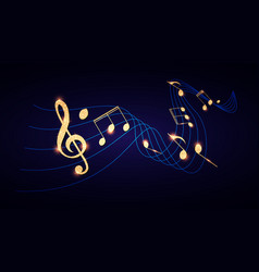 music notes and treble clef on swirling tave vector image