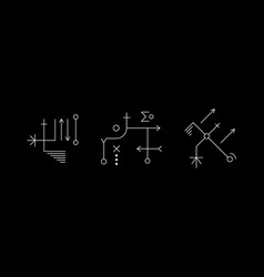 Mysterious geometry white symbol set ancient vector