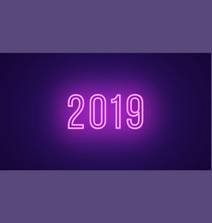 neon inscription of 2019 neon bright text vector image