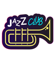 neon jazz club trumpet background image vector image