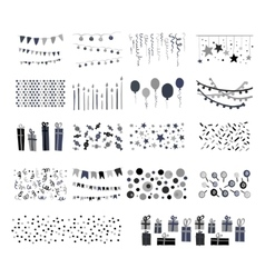 party patterns set hand drawn doodle vector image