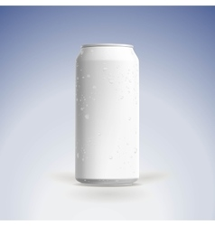 Photorealistic beer can mockup with water vector image