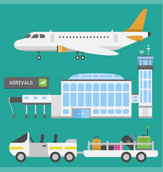 plane airport transport symbols flat design vector image