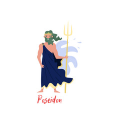 Poseidon olympian greek god ancient greece myths vector
