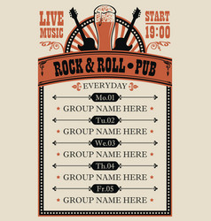 poster for music rock and roll pub with live music vector image