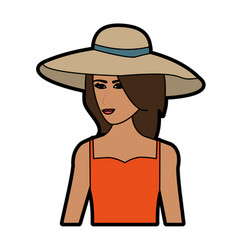 pretty happy woman wearing big sun hat icon image vector image