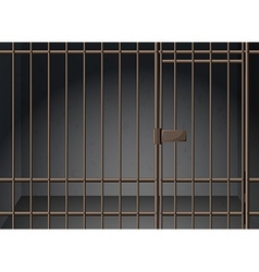 Prison cell with metal bars vector