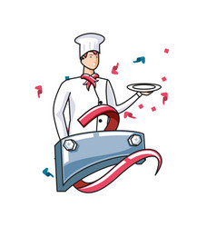 Professional chef worker with label metal labor vector