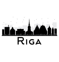 Riga City skyline black and white silhouette vector image