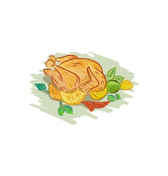 Roast Chicken Vegetables Drawing vector