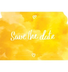 Save the date typographic yellow vector