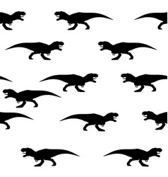 seamless pattern of silhouettes of tyrannosaurs vector image