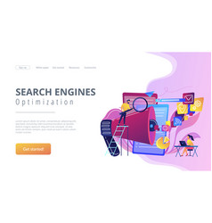 search engines optimization concept landing page vector image