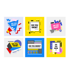 set did you know banners icons or badges with vector image