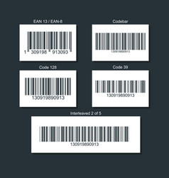set of bar codes for different types of goods vector image