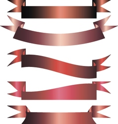 Set of red and pink ribbons vector image