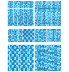 Set of seamless greek ornaments - Meander and wave vector image