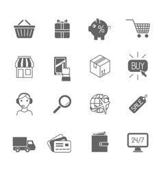 Shopping e-commerce icons set black vector image
