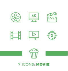 Simple set of cinema related line icons contains vector