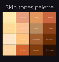 Skin tones palette vector