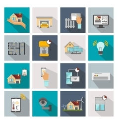 Smart House Square Icon Set vector image