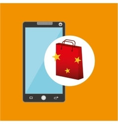 Smartphone red bag gift star design vector