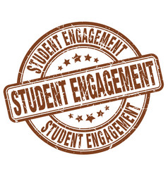 Student engagement brown grunge stamp vector