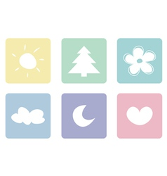 Sweet pastel icons buttons or logo set vector