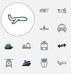 Transport icons set collection of plane chopper vector