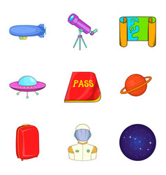 Ufo icons set cartoon style vector