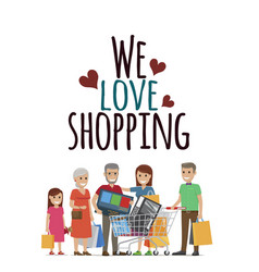We love shopping family with purchases on white vector