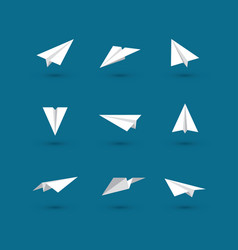 White paper plane icons vector