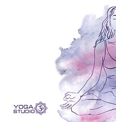 Woman sitting in the lotus yoga pose vector image