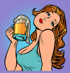 woman with a mug of beer in profile vector image
