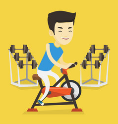 Young man riding stationary bicycle vector
