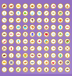 100 bakery and cooking icons set in cartoon style vector image