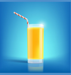 glass of freshly squeezed orange juice drink with vector image vector image